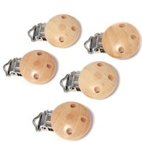 Wholesale 5PCS Baby Pacifier Clips Holder Natural Color Wooden Round For Baby cm x2 cm Funny Pacifier