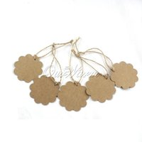 Wholesale 100Pcs cm Brown Blank Kraft Paper Tags Wedding Party Gift Tags With Twines Lacework Round DIY Label