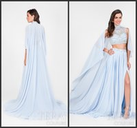 Cheap 2017 Charming Baby Blue Two Pieces Prom Dresses With Wrap Sexy Side Split Crystal Beading Sequins Cutaway Sides Evening Gowns Party Dress