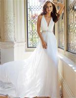 Wholesale Chiffon Wedding Dress Vestido Para Madrinha De Casamento Sexy Deep V Neck Cheap Long Wedding Dresses Hot Selling