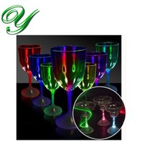 Wholesale Led cup flashing wine drinking glasses bar drinkware light up party accessories unbreakable blinking cocktail Margarita champagne glasses