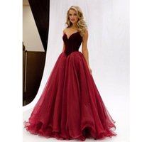 Wholesale 2017 Burgundy Velvet Prom Dresses Formal Evening Party Pageant Gowns Ball Gown Sweet heart Zipper Back Long Special Occasion Dresses Cheap