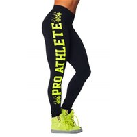 athlete wear - Good Smooth Women Fitness Leggings Black Green Letters Pro Athlete Digital Printed Women wear Ladies Capris Pants