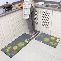 Wholesale 40 x cm Carvapet Piece Non Slip Kitchen Mat Rubber Backing Doormat Runner Rug Set Lemon Design