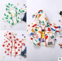 Wholesale Cotton Baby Jackets Summer Tops Cotton Baby Sunscreen Jacket Hooded Fruit Printed Outerwear Kids Coats Toddler Clothing Baby Clothes