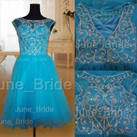 best party dresses factory - High Quality Major Crystal Beadwork Short Prom Dress Factory Real Photo Illusion Cap Sleeve V Back Evening Party Dress Best Price
