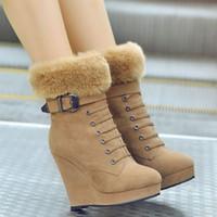 Venta al por mayor-Mujeres Botas Plataforma Cuña Botas Damas Botas Invierno con Zipper Remaches Otoño Tacones Zapatos Negro Marrón 34-39 99A-A0