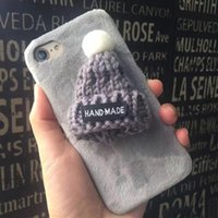 apple stuff - 1pcs Christmas Gifts iPhone Case Cute Plush Hat Back Phone Cover Handmade Stuffed Hat Protective PC Case For iPhone Plus S Free Ship