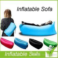 Precio de Bolsas de bolsillos-Bolsa de dormir inflable de aire rápido Hangout Lounger Air Camping Sofá portátil de playa Nylon tela dormir cama con bolsillo y ancla caliente