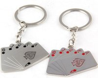 Wholesale Flush Keychain Black Red Hearts Poker J Q K A Playing Cards Pendants Male Female Car Keys Holder Gift