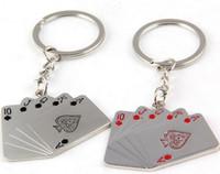 achat en gros de cartes à jouer pendentif-Flush Porte-clés Noir Rouge Coeurs Poker 10 J Q K A Cartes à Jouer Pendentif Homme Femme Porte Clés Porte-Cadeau