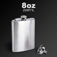 Wholesale 8OZ Stainless Steel Pocket Whisky Liquor Hip Flask With Funnel With Box ml Alcohol Bottle Claasic Wine Drinkware A187