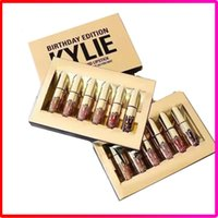 Wholesale Hot Kylie Jenner Cosmetics Matte Liquid Lipstick Mini Kit Lip Birthday Edition Limited With the Golden Box set Lip Gloss