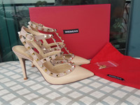 al por mayor sexy high heels-Los más nuevos 2017 diseño de lujo de la marca de fábrica de cuero del patrón de las mujeres de las sandalias del perno prisionero Bombas de Slingback dos hebillas del tobillo señoras atractivas de tacón alto vestido de color de neón
