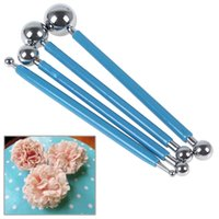 Wholesale 4Pcs Set Blue Stainless Steel Double Sided Balls Modelling Tools for Fondant Cake Cookie Decorating HOA_828