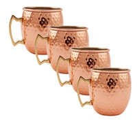 beverage cups - 4Pic ml Stainless Steel Copper Plating Hammered Drum Style Moscow Mule Beverage Mug Cups with Handle