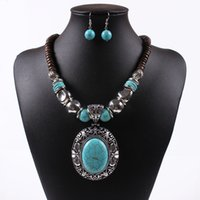 amber gold jewellery - New Women Jewellery Tibetan Silver CZ Crystal Chain Pendant Necklace Earrings Set Round Turquoise Jewelry sets