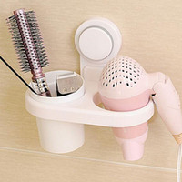 Wholesale Wall mounted Multi use ABS Plastic Hair Dryer Drier Comb Holder Shelf Bathroom Suction Cup Storage Holder Comb Rack Wall Hanger