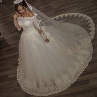 Wholesale Boho Wedding Gowns Long Sleeves Wedding Dresses Hot Sales Vestido De Noiva Princesa Off Shoulders Ball Gown Wedding Dresses