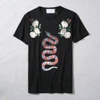 Wholesale 2017 New Summer Cotton tshirt Floral Snake Print fashion Short Sleeve t shirt Men Brand T shirt Men Luxury Homme