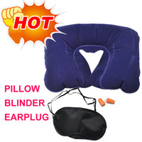 Wholesale comfortably Inflatable Air Pillow Eye Shade Mask Blinder Ear Plugs airbag packs small for travel pillow eye shade mask blinder ear plugs