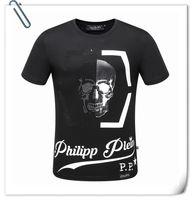 Wholesale PP8129 Luxury Brand Skull T Shirt New Top Quality Summer Mens Tee Skull Logo Printing Clothing Tops PP Men T Shirt