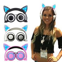 Wholesale With gift box Foldable Flashing Glowing cat ear headphones Gaming Headset Earphone with LED light For PC Laptop Computer Mobile Phone