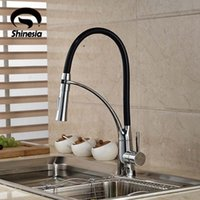 wholesale black and chrome finish kitchen sink faucet deck mount pull out dual sprayer nozzle hot cold mixer water taps - Kitchen Sink Nozzle
