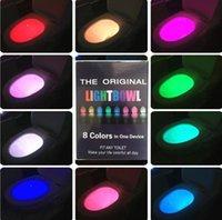 Wholesale LED Motion Sensor Toilet Night Light Color Change Toilet Bowl Light Bathroom Human Body Auto Sensing Night Lighting LJJP405