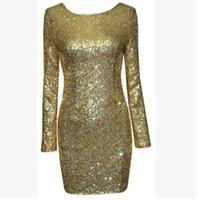 apparel for u - Sexy Sequins dresses for women U shape backless hip wrapped party dresses apparel hot sale gold red green black