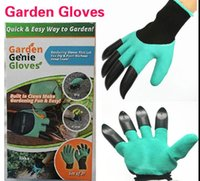 Перчатки Garden Genie Полезные садовые работы Водонепроницаемые работы Копаем Посадка с 4 ABS пластиковых когтей садоводство перчатки 100pair KKA1421