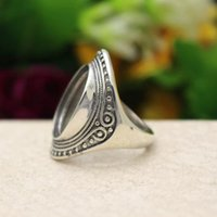 art deco retro - Art Deco Antique Vintage Silver Oval Cabochon x19mm Semi Mount Ring Retro Engagement Wedding Ring Setting Fine Silver