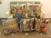 bear cushion covers - New Vintage Embroidered Cute Teddy bear cat oil paintings pillow Home Sofa cushion linen comfortable cushion cover cm