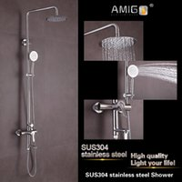 Wholesale Amigo SUS304 stainless steel Shower Circular tube Arbitrary Rotation High Quality Years warranty Bathroom Rain Shower Mixer Faucet
