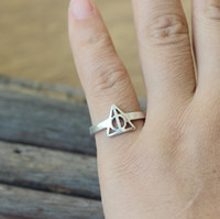 antique inspired rings - antique silver the Deathly Hallows Ring Harry Potter inspired jewelry Triangle charm vintage adjustable ring C335R_S