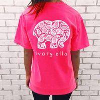 Wholesale 2017 Fashion Summer new tshirt Ivory Ella printing T shirt Women Tops Tee Print Animal Elephant T Shirt Loose Long Sleeve Harajuku Tops