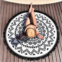 Wholesale Multi Round Beach Towels Large Microfiber Printed Beach Towel With Tassel Circle Shawl Serviette De Plage