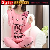 Wholesale Sexy Clothes For Women Sleep - 2016 Cartoon Sleep Clothes Winter Warm Pink Hello Kitty Sleepwear Sets Women Girl Pajamas Set for Home Sleep