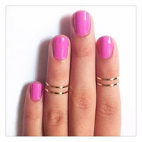 animal stack - 2016 Hot Set Finger Rings Stack Plain Cute Above Knuckle Ring Band Midi Ring Set Gold Tone For Women