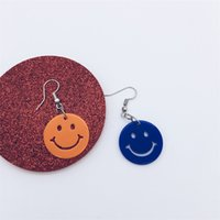 Wholesale earring CONTRAST COLOR smile face chic style plastic blue orange