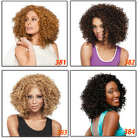 Wholesale Short Bobo Afro Curly Fluffy Synthetic Hair Wigs Side Bang Wig for Women Colors Choose with Free Hair Net