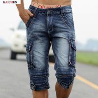 arrival cargo shorts - New Arrival Men s Denim Shorts Male Fashion Shorts Multi pocket Cargo Shorts Washed Denim Short Pants Men Jeans