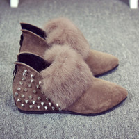 beauty rubber shoes - Sell Like Hot Cakes Fashion Shoes Pointed Rivet Comfortable Rabbit Hair Short Boots Keep Warm Shoes Short Boots Beauty Shoes