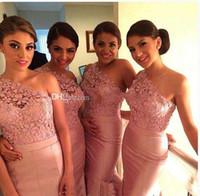 Wholesale 2017 Wedding Dresses Long Peach Color Bridesmaid Dresses New Design One Shoulder lace Brides Maid Dresses Bridal Guests Gowns Plus Size