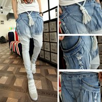 Cheap Wholesale-Men's clothing personality gradient jeans skinny jeans non-mainstream low-rise harem pants boys pants