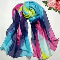 Wholesale New Womens Spring Fashion Silk Scarf Women Thin Long Chiffon Scarves and Shawl cm las mujeres de la bufanda