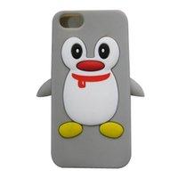 Pour iPhone 5 5G 5S SE Penguin gris caoutchouc souple Housse de protection pour téléphone portable