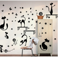 bedroom tv cabinet designs - Can remove wall stickers TV background cabinet decorative cartoon black cats wall stickers waterproof arts wall mural decals