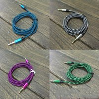 Wholesale 1 xr Nylon Braided mm Metal Head Audio Cables Public To Public Wiring AUX Car Connector Colorful High Quality