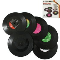 Wholesale sets Vinyl Record Cup Mats Retro Drinks Coasters Silicone Placemats Table Pads